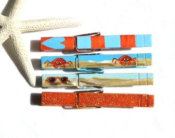SUMMERTIME CLOTHESPIN magnets hand painted