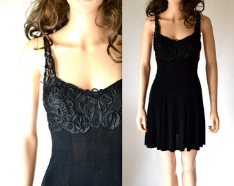 90s Vintage Black Prom Dress// 90s Black Party Tank Dress Size Small