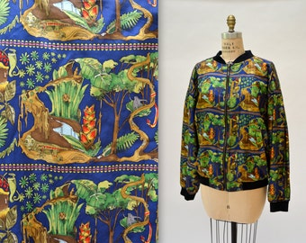 90s Vintage Nicole Miller Silk Bomber Jacket size Large XL Plus Size Tropical Frogs Lizards in Jungle// Animal Print Silk Bomber Jacket XL