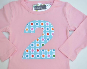 Blue Flower Girls Birthday Shirt, Pink Long Sleeve, Choose Age 1st 2nd 3rd 4th 5th 6th 7th 8th, Applique Number Shirt, Made to Order