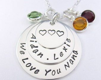 Personalized Family Necklace - Mom Mother Grandmother Necklace with Swarovski Birthstones - Sterling Silver 3 Layer Pendant