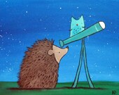 Hedgehog Star Gazer Art Print, Kids Wall Art Nursery Decor, Woodland Storybook Children's Art