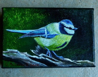 Wildlife Painting - Blue Titmouse - nature, original acrylic canvas painting, bird painting, wooden log