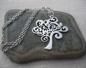 Whimsical Silver Tree Pendant - Tree of Life Jewelry - Silver Tree Necklace
