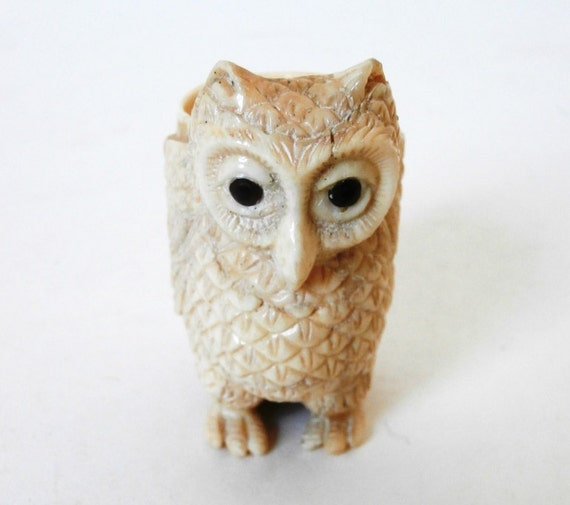 Hand carved bone owl by pascalene on etsy