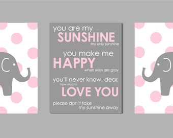 "Elephant Nursery Girl, Pink and Grey Bedding, Baby Girl Nursery Art, You are my Sunshine, Art for Nursery Set of three 8""x10"" prints"