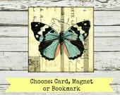 "Mixed Media Art: Card, Magnet or Bookmark, art card, art magnet, art bookmark, Vintage inspired mixed media, ""Butterfly 107"" postcard art"