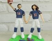 American football fan wedding cake topper