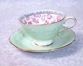 Vintage Paragon Teacup and Saucer in Mint Green c. 1930s - Vintage Paragon Fortune Telling Tea Cup Set - Vintage Fortune Teller