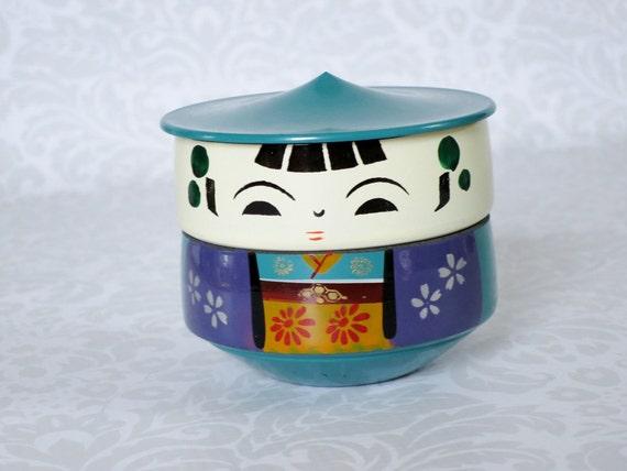 Japanese Bento Box Kokeshi Vintage Bento Box / Vintage Japan