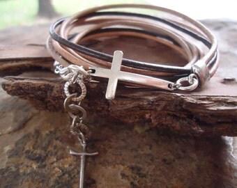 BEIGE BROWN LEATHER Mix & cross -  wrap bracelet (567)