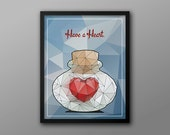Have a Heart // Heart Piece in a Glass Bottle // Zelda Inspired Low Polygon Style Geek and Gamer Illustration