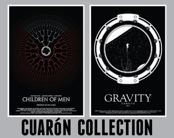 Alfonso Cuaron Film Set // Children of Men and Gravity SciFi Movie Posters // Family Tree, Falling Astronaut Porthole Illustrations