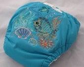 NewBorn AI2 PUL  Bamboo diaper- Embroidered Sea Lifescape