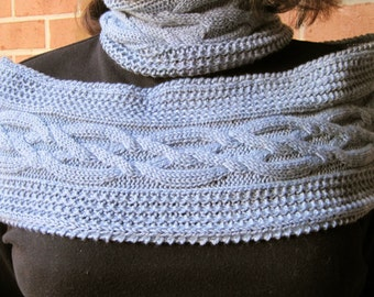 Knit Cowl Pattern:  Ringlet and Double Crossed Cable Infinity Scarf Knitting Pattern