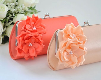 Peach / Living Coral - Bridesmaid Clutch / Bridal clutch - Choose the color you like