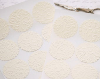 Wedding Envelope Seals -  25 Embossed Ivory French Lace Elegant Seals For Envelopes Gift Wrap Favor Bags :  Wedding Envelope Seals