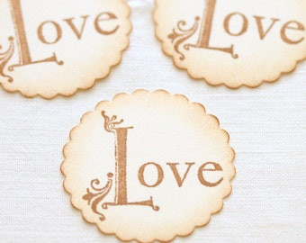 Love Stickers Sepia Antique Inspired Envelope Seals Wedding Seals Favor Stickers