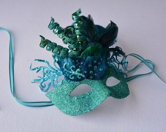 MASK- Teal Twirl - Halloween, Fairy, Mardi Gras, Venetian or masquerade mask