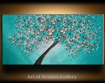 48 x 24 Custom Big Oil Painting Original Texture Aqua Blue Teal Beige Brown White Floral Tree Sculpture Knife Painting by Je Hlobik