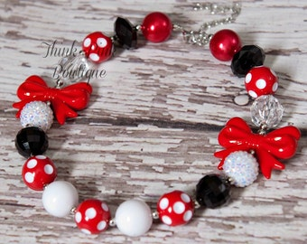 Minnie Mouse Chunky Necklace, Girls Chunky Necklace, Girls Bubblegum Necklace, Girls Necklace ,Chunky Bead Necklace, Minnie Necklace. N3