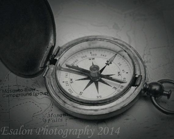Items similar to Photograph of old vintage U.S. compass on ...