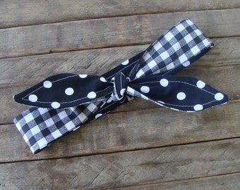 Reversible Headband Black Polka Dots over Black Gingham Girls Teen Women Hair Accessory Headscarf Hairband with or without Elastic