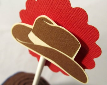Cowboy Hat Cupcake Toppers. Yee Haw. Set of 12. Country Party