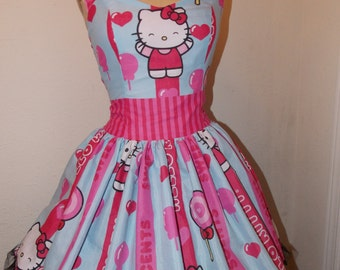 Striped Hello Kitty Lollipop Candy Custom Made to Order Sweet Heart Geekery Pin UP Ruffled Halter Mini Dress
