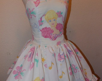 Custom Made to Order I'm a Barbie Girl Geekery Pin Up Ruffled SweetHeart halter Mini Dress