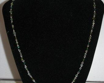 Green Swarovski Crystal Vintage Style Necklace