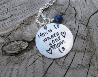 "Mom Necklace, Hand-Stamped Jewelry ""Home is where your Mom is"" with hearts, and an accent bead in your choice of colors"
