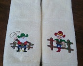 Mr. & Mrs. Cowboy Santa Claus Hand Towels