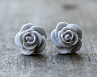 Rose Earrings, Light Gray Handmade Resin Cabochons on Hypoallergenic Titanium Posts/Studs