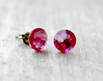 Titanium Earrings, Rose Pink Swarovski Crystal, Hypoallergenic