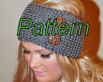 Ear Warmer Button Headband Head Wrap Knit PDF PATTERN DIY Grey Button Cozy Nature Knitted Headband