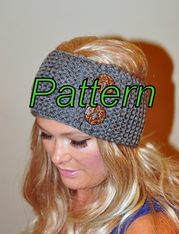 Ear Warmer Button Headband Head Wrap Knit PDF PATTERN DIY Grey