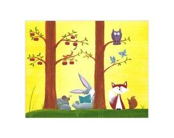 11x14 Bunny & Friends ~ Large Forest Friends Print
