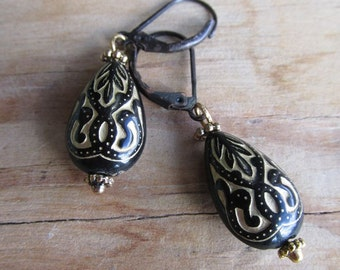 Carved Black and Gold Acrylic Drop Earrings - Moroccan Night