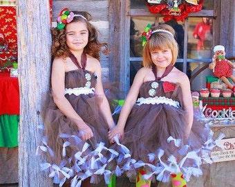 Girls Christmas Dress | Kids Christmas Outfit | Girls Christmas Outfit | Girls Holiday Outfit | Gingerbread Tutu Dress Costume