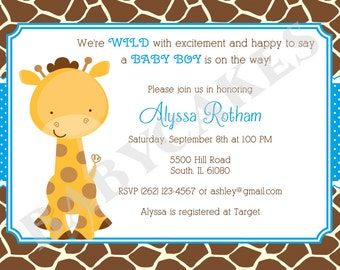 Giraffe Baby Shower Invitation Baby Sprinkle Twins - DIY Print Your Own - matching party printables available