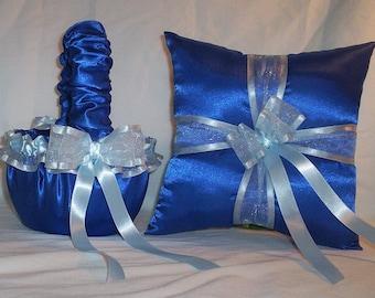 Blue Horizon Satin With Light Blue Ribbon Trim Flower Girl Basket And Ring Bearer Pillow Set 2