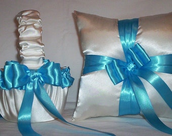 Ivory Cream Satin With Turquoise Blue Ribbon Trim Flower Girl Basket And Ring Bearer Pillow Set 2