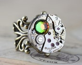 Steampunk Ring Unique Ring Watch Ring Clockwork Vitrail Round Antique Brass