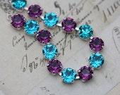 Peacock Wedding Bracelet Silver Swarovski Crystal Bridesmaids Teal Purple Amethyst