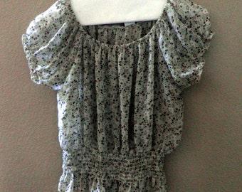 Farm-Girl top / blouse, shirred waist, peasant-style, semi-sheer