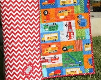 SALE LAST ONE Transportation Baby Quilt, Toddler Quilt, Fireman Baby Blanket, Vehicles Nursery Bedding, Tractor Blanket, Crib Quilt Baby Boy