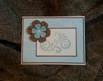 Soft Blue and Brown Sympathy Card A