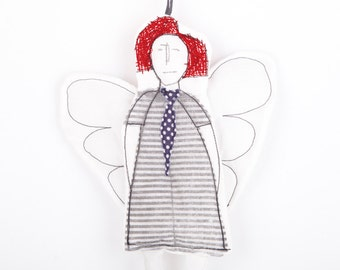 Tooth Fairy ornament , Black & white modern cupid or angel ,in red hair striped dress and navy blue polka dot tie - handmade fabric dolll