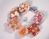 Bridesmaid Gift, Vintage Earring Bracelet, Reclaimed, Glass, Cluster, Flower, Blush, Pink, Charm, Jennifer Jones, Under 40 - Cherry Blossoms